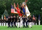 The U.S. Joint Service Color Guard on parade atFort Myer, Virginia showing the U.S. Colors in itsposition of honor, with each U.S. military service'sflag in order of service precedence (Army, MarineCorps, Navy, Air Force, and Coast Guard).