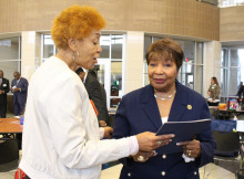 Congresswoman Johnson with participant at Early Childhood summit last Saturday in Desoto