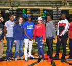 Efren Hubbard, Chris Armstead, Mikayla Smith, Terrion Spivey, Jamie Polk, AJ Armstrong, Kevonte Wade and Chris Zarazua just before they declare and sign their letter of intent.