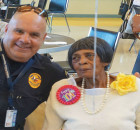 DeSoto Police Sgt Nic Bristow wishes Mrs Harris a Happy Birthday
