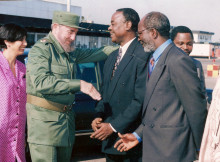 Cuban President Fidel Castro (second from left) and former Nigerian presidential Adviser Onyema Ugochukwu (center) at Havana, Cuba (Circa 1999). (Wikimedia Commons)